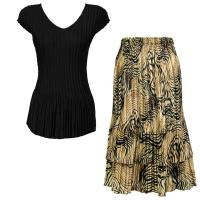 Sets Satin Mini Pleat - Cap Sleeve V Neck/Skirt - Solid Black - Swirl Animal Skirt