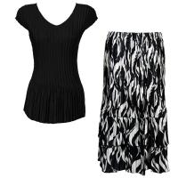 Sets Satin Mini Pleat - Cap Sleeve V Neck/Skirt - Solid Black - White Buds on Black Skirt