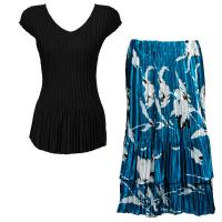 Sets Satin Mini Pleat - Cap Sleeve V Neck/Skirt - Solid Black - White Tulips on Teal Skirt