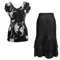 Sets Satin Mini Pleat - Cap Sleeve V Neck/Skirt - White Tulips on Black - Black Skirt