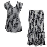Sets Satin Mini Pleat - Cap Sleeve V Neck/Skirt - White-Black Swirl Dots