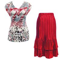 Sets Satin Mini Pleat - Cap Sleeve V Neck/Skirt - Reptile Floral-Red - Red Skirt