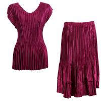 Sets Satin Mini Pleat - Cap Sleeve V Neck/Skirt - Solid Burgundy
