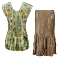 Sets Satin Mini Pleat - Cap Sleeve V Neck/Skirt - Gold-Sage Floral - Gold Skirt