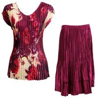 Sets Satin Mini Pleat - Cap Sleeve V Neck/Skirt - Rose Floral-Berry - Ruby Skirt