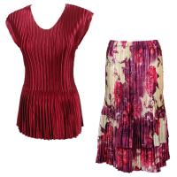 Sets Satin Mini Pleat - Cap Sleeve V Neck/Skirt - Solid Ruby - Rose Floral-Berry Skirt