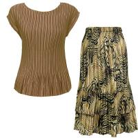 Sets Satin Mini Pleat - Cap / Skirt  - Solid Taupe - Swirl Animal Skirt