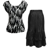 Sets Satin Mini Pleat - Cap / Skirt  - White Buds on Black - Black Skirt