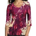 Satin Mini Pleats - Three Quarter Sleeve V-Neck