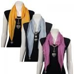 Scarves-Heart Pendant-Chiffon (CLEARANCE)