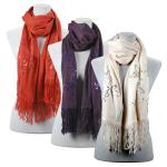 Scarves- Floral Sequined - Cashmere Feel 4108