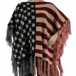 Poncho - American Flag Knitted Poncho with Fringe 095