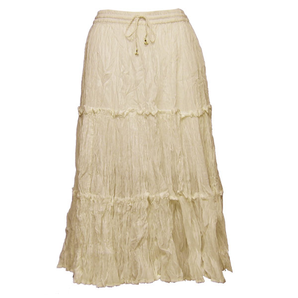 Wholesale Skirts - Cotton Three Tier Broomstick 500 & 529 Calf Length - Beige - One Size (S-XL)