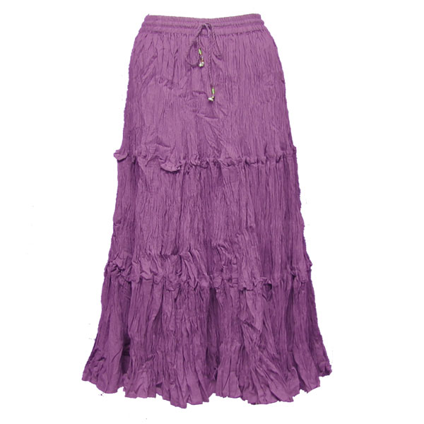 Wholesale Skirts - Cotton Three Tier Broomstick 500 & 529 Calf Length - Dark Lilac - One Size (S-XL)