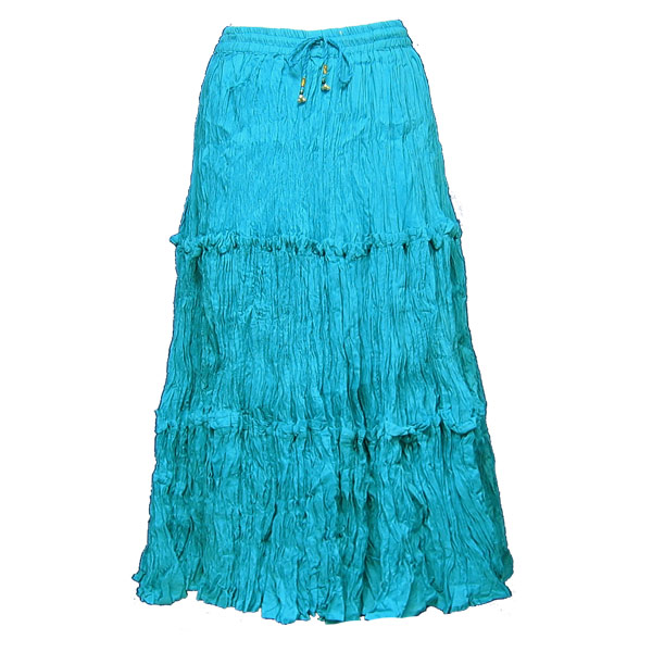 Wholesale Skirts - Cotton Three Tier Broomstick 500 & 529 Calf Length - Turquoise - One Size (S-XL)