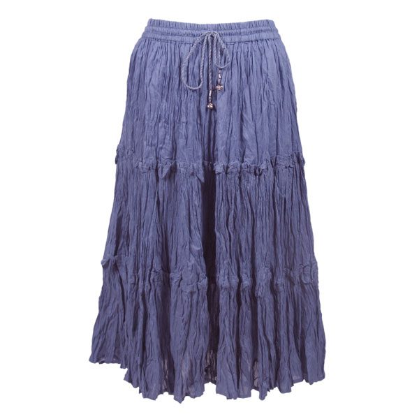 Wholesale Skirts - Cotton Three Tier Broomstick 500 & 529 Calf Length - Denim - One Size (S-XL)