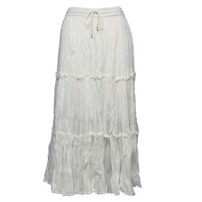 Wholesale Skirts - Cotton Three Tier Broomstick 500 & 529 Ankle Length - White - One Size (S-XL)