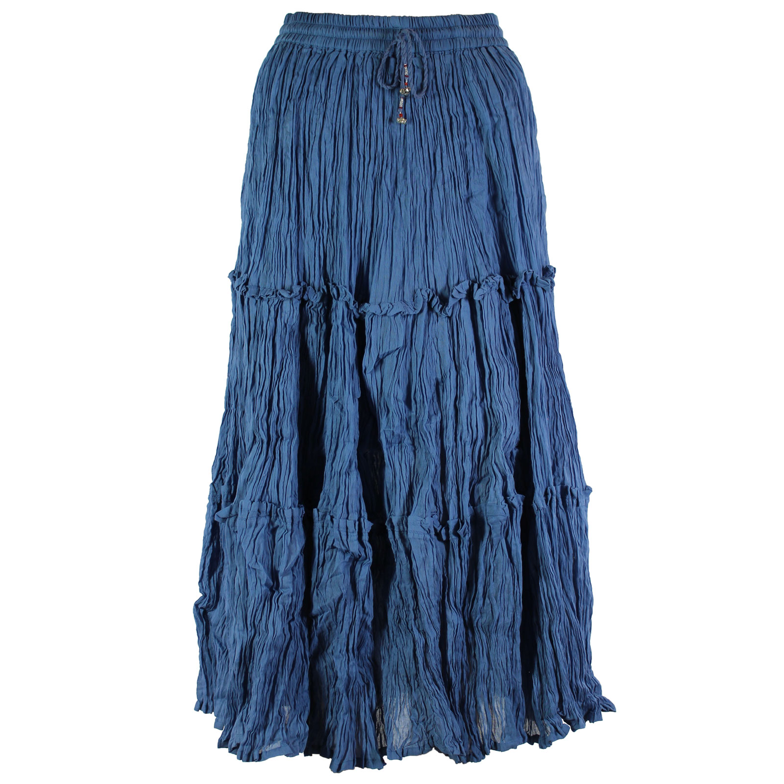 Wholesale Skirts - Cotton Three Tier Broomstick 500 & 529 Ankle Length - Denim - One Size (S-XL)