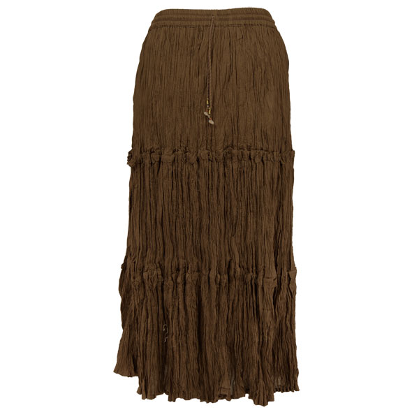 Wholesale Skirts - Cotton Three Tier Broomstick 500 & 529 Ankle Length - Brown - One Size (S-XL)