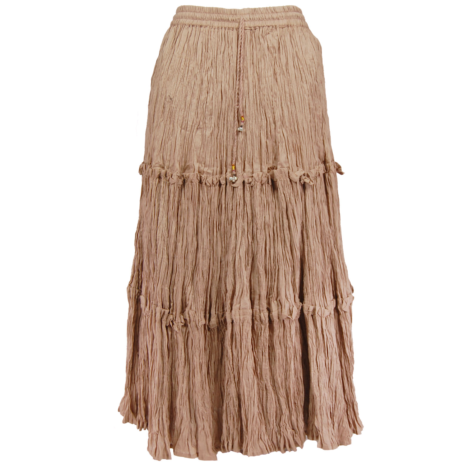 Wholesale Skirts - Cotton Three Tier Broomstick 500 & 529 Ankle Length - Light Brown - One Size (S-XL)