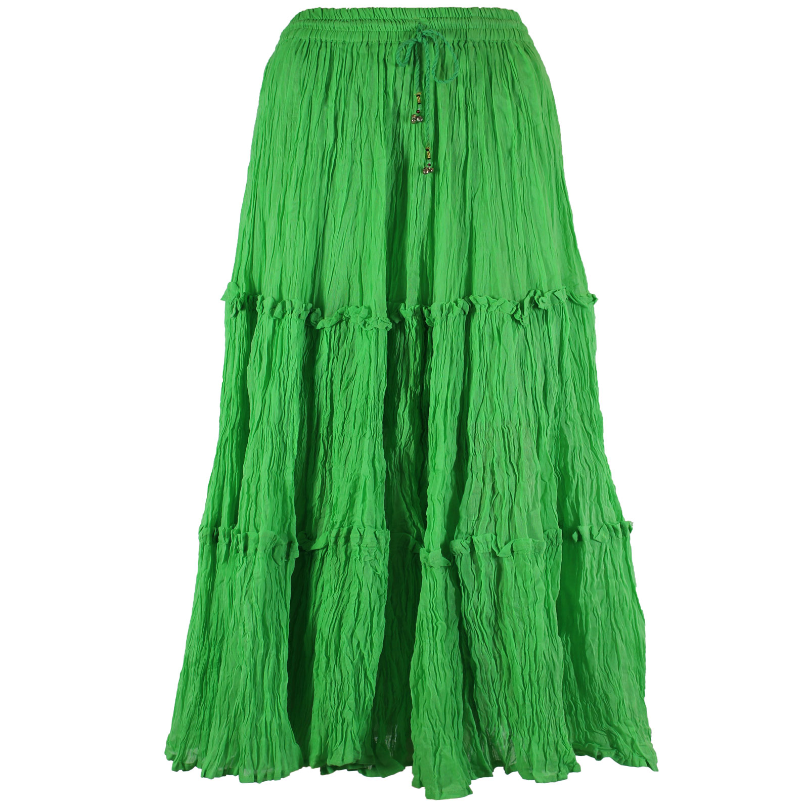 Wholesale Skirts - Cotton Three Tier Broomstick 500 & 529 Ankle Length - Spring Green - One Size (S-XL)
