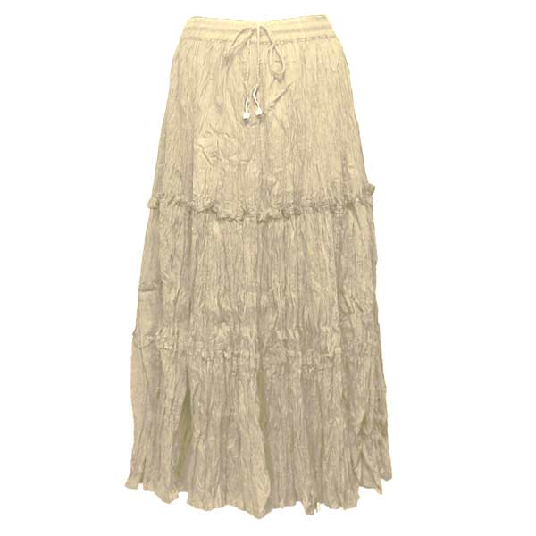 Wholesale Skirts - Cotton Three Tier Broomstick 500 & 529 Ankle Length - Beige - One Size (S-XL)