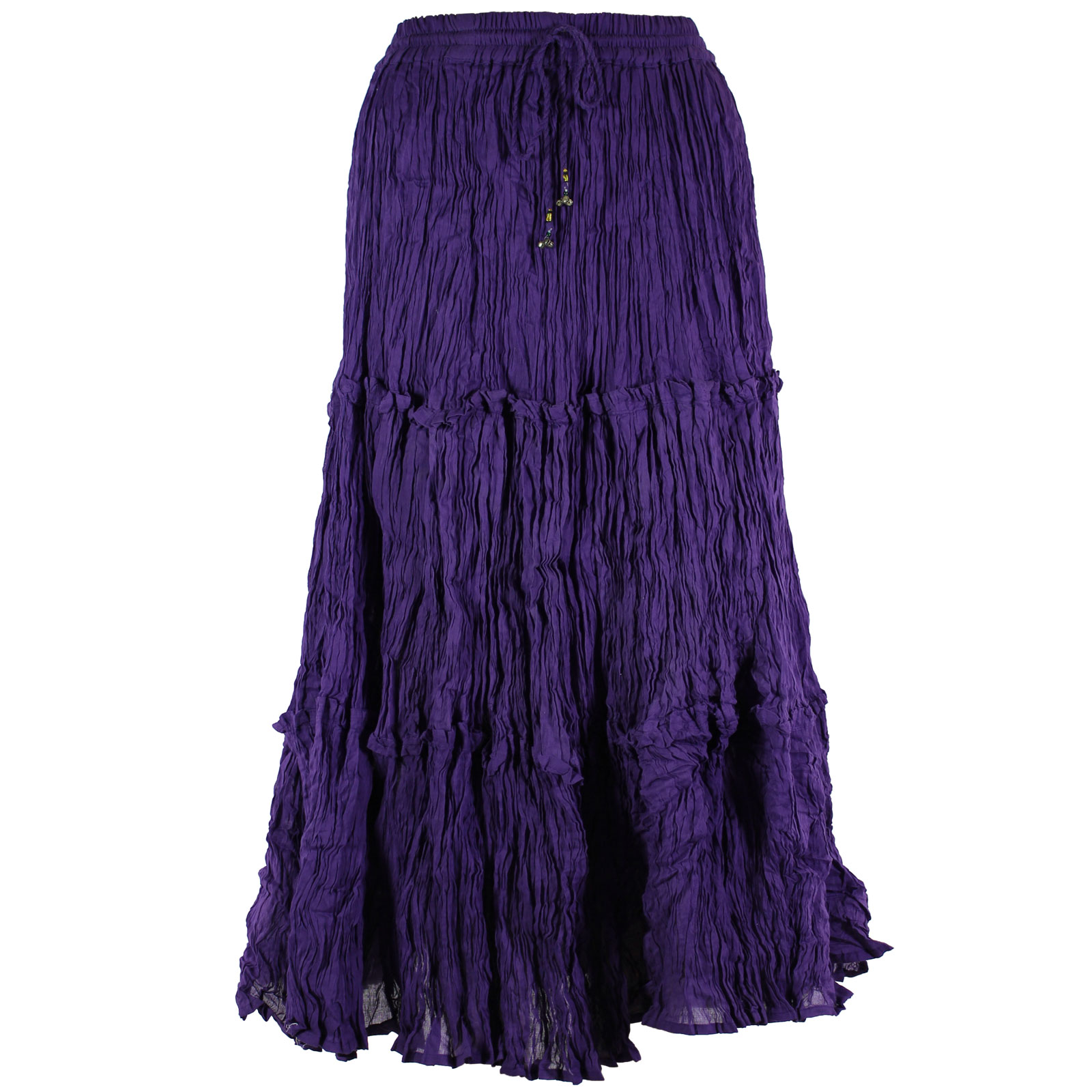 Wholesale Skirts - Cotton Three Tier Broomstick 500 & 529 Ankle Length - Purple - One Size (S-XL)