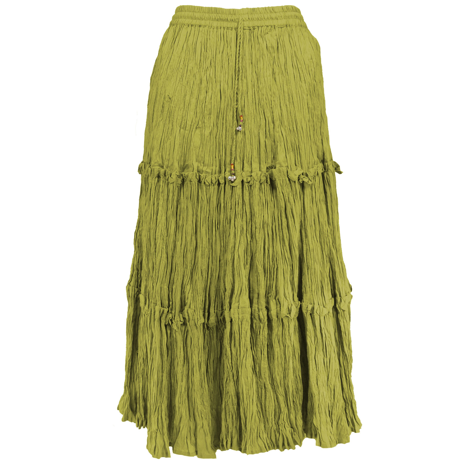 Wholesale Skirts - Long Cotton Broomstick with Pocket 503 Ankle Length - Olive - One Size (S-XL)
