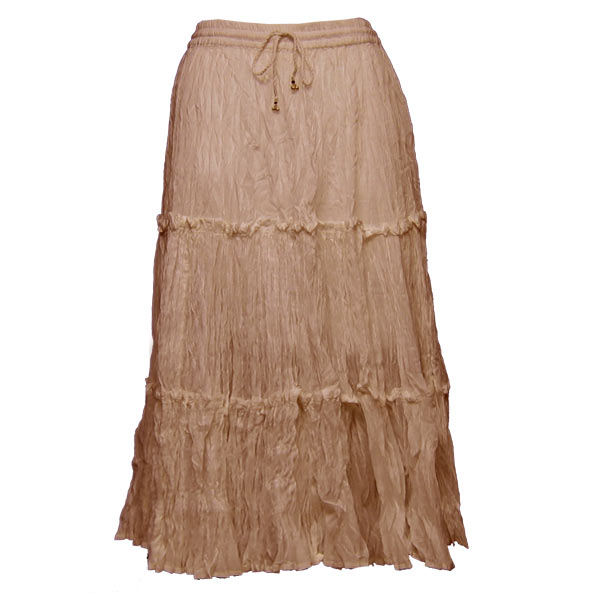 Wholesale Skirts - Cotton Three Tier Broomstick 500 & 529 Calf Length - Light Brown - One Size (S-XL)