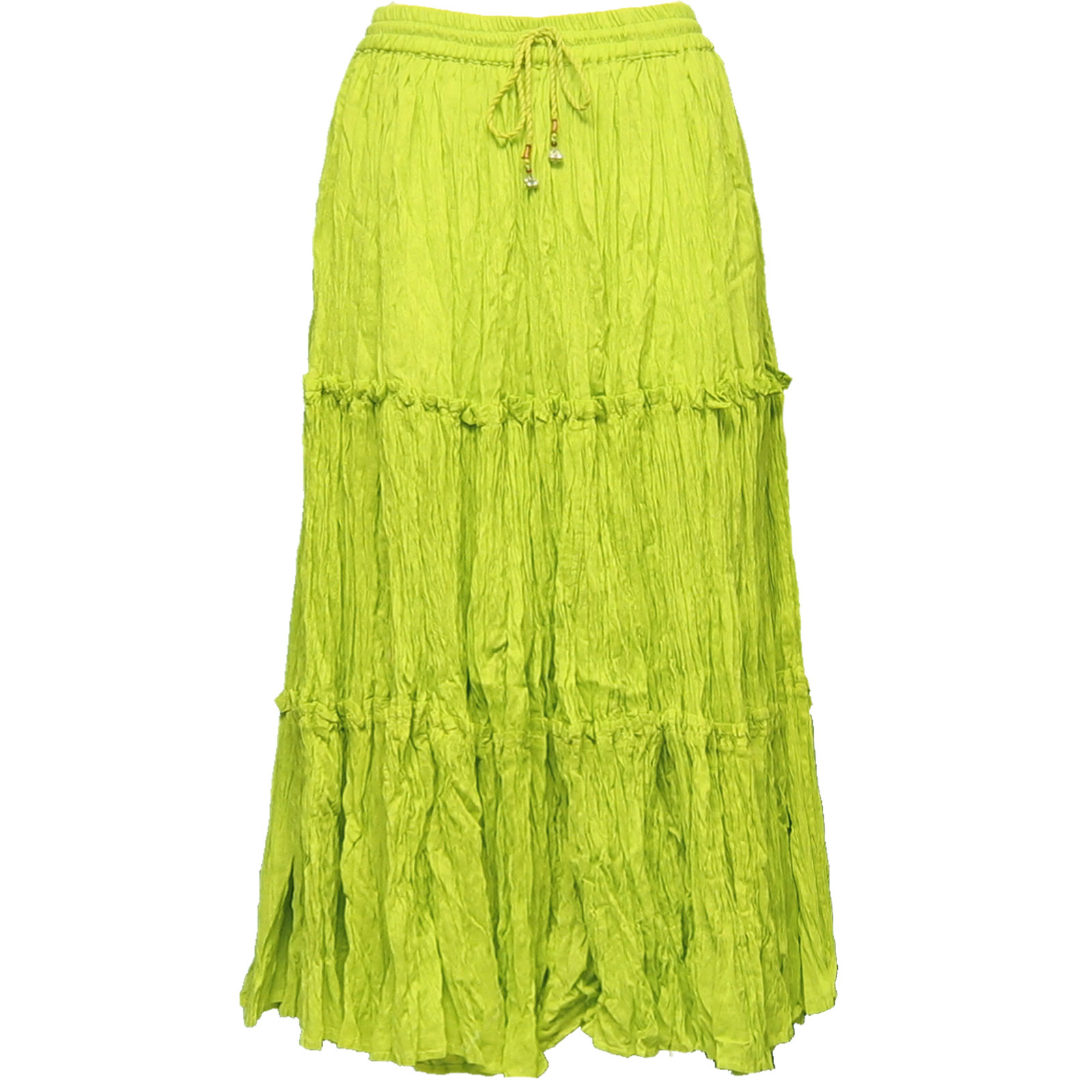 Wholesale Skirts - Cotton Three Tier Broomstick 500 & 529 Calf Length - Spring Green - One Size (S-XL)