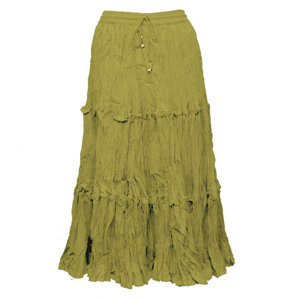 Wholesale Skirts - Long Cotton Broomstick with Pocket 503 Calf Length - Olive - One Size (S-XL)