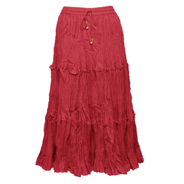 Wholesale Skirts - Cotton Three Tier Broomstick 500 & 529 Calf Length - Red - One Size (S-XL)