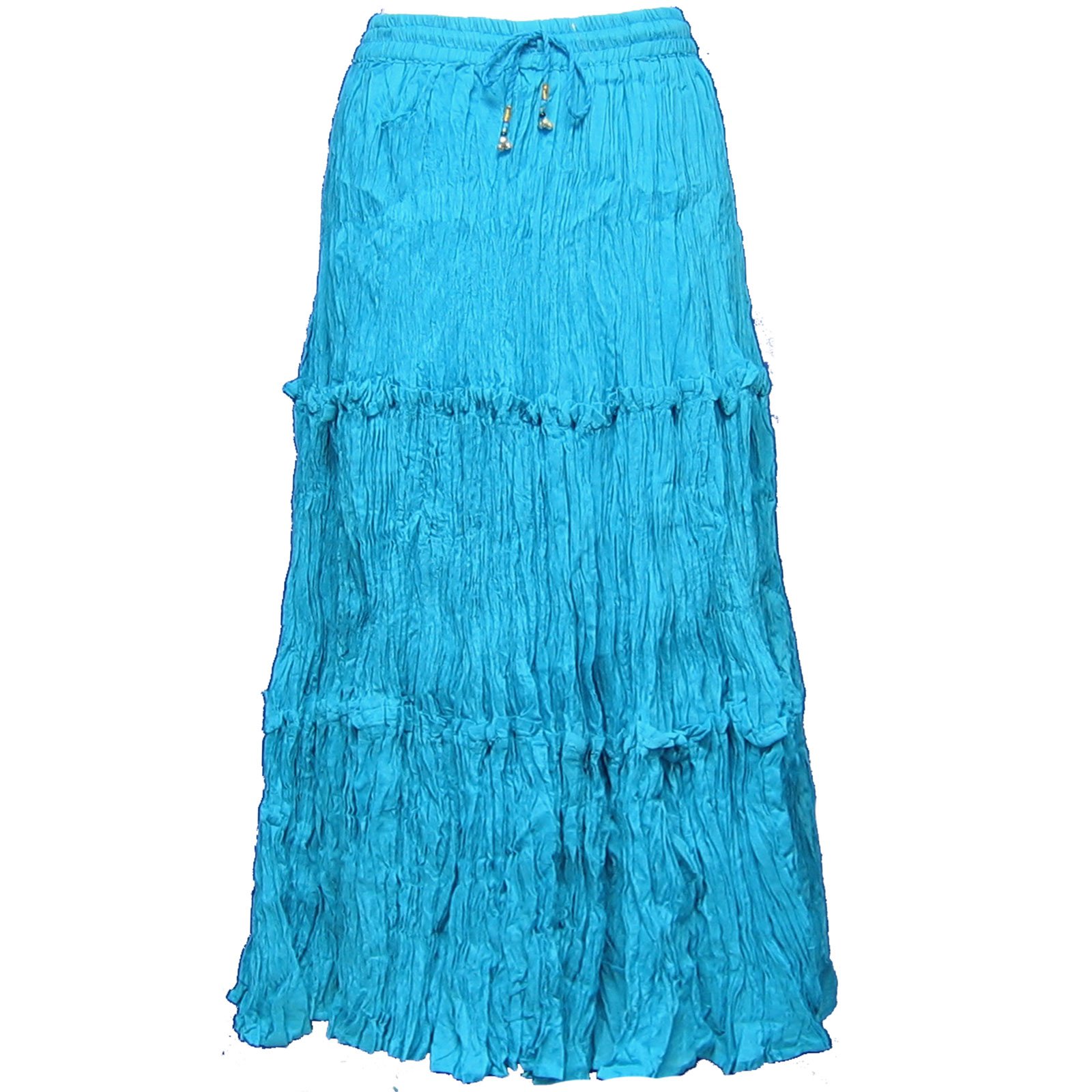 Wholesale Skirts - Cotton Three Tier Broomstick 500 & 529 Ankle Length - Turquoise - One Size (S-XL)