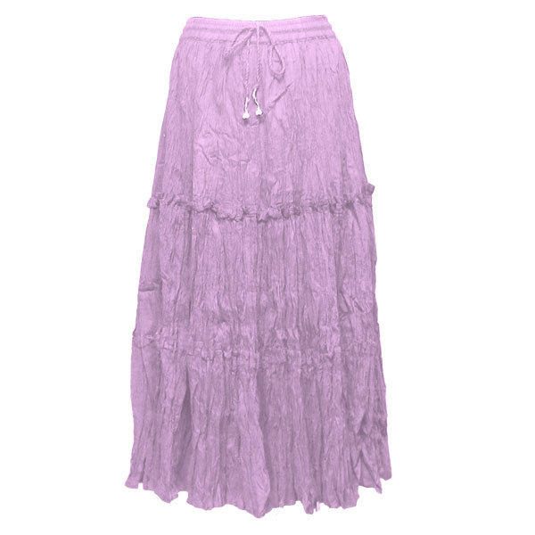 Wholesale Skirts - Cotton Three Tier Broomstick 500 & 529 Ankle Length - Lilac - One Size (S-XL)
