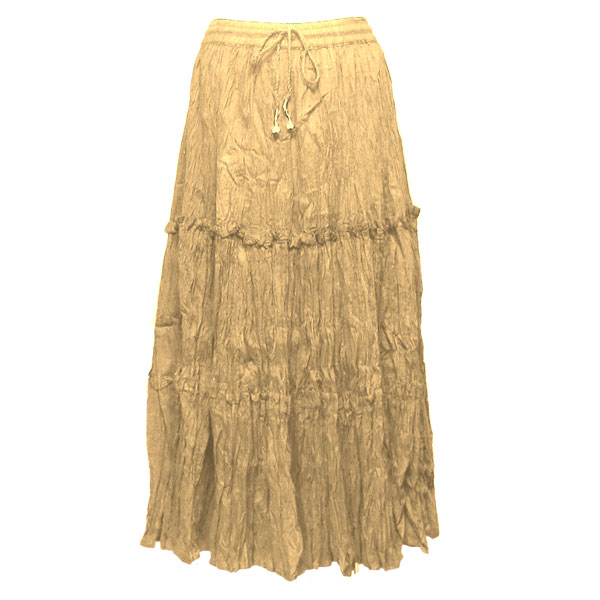 Wholesale Skirts - Cotton Three Tier Broomstick 500 & 529 Ankle Length - Sand - One Size (S-XL)