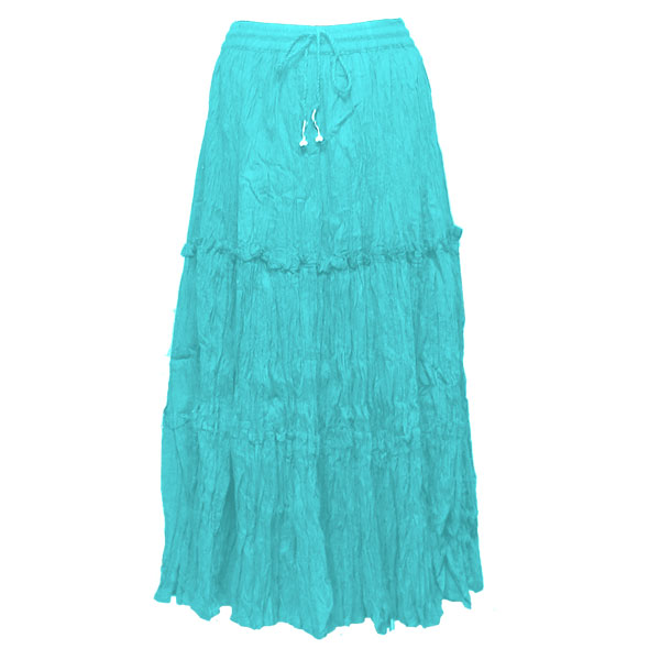 Wholesale Skirts - Cotton Three Tier Broomstick 500 & 529 Ankle Length - Aqua - One Size (S-XL)