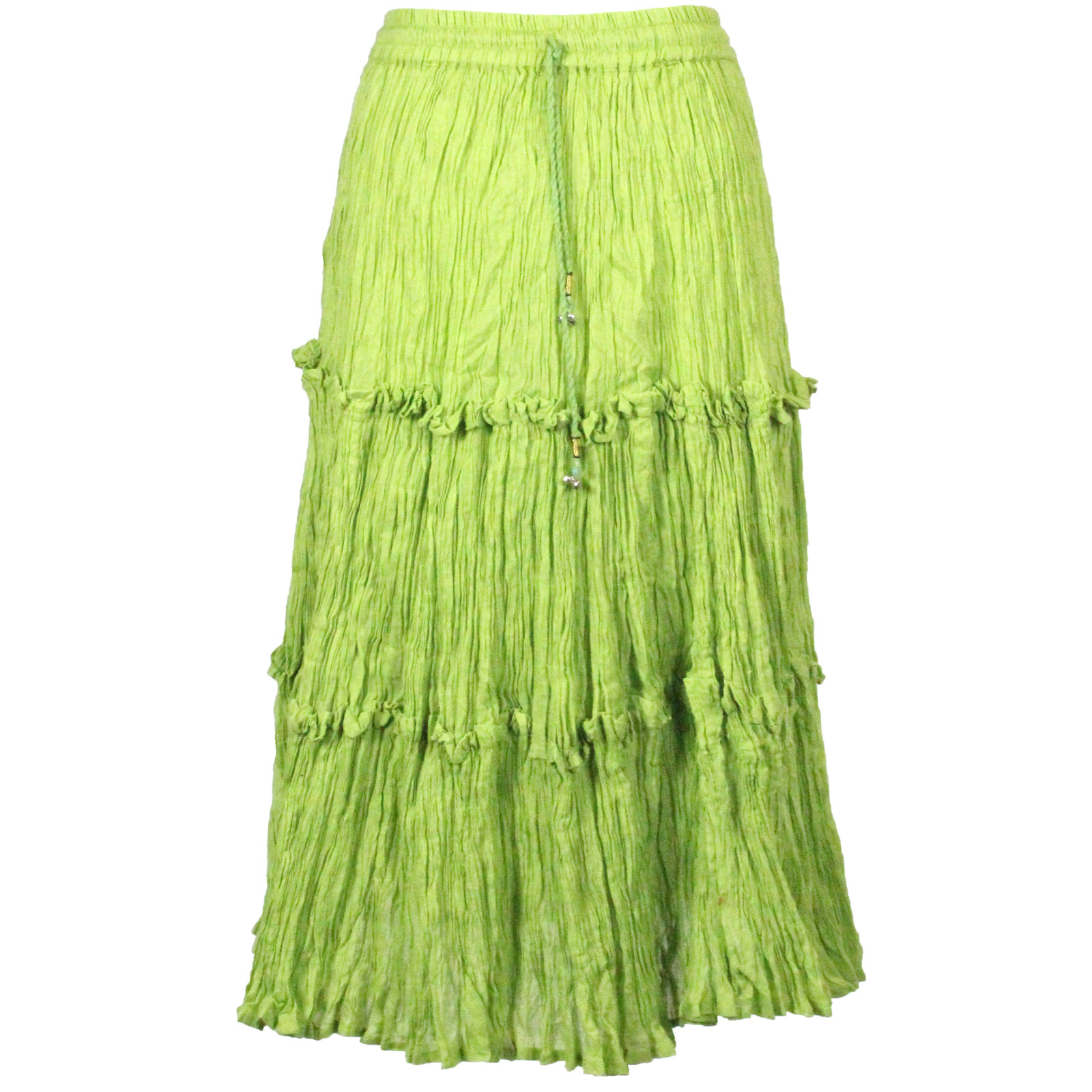 Wholesale Skirts - Cotton Three Tier Broomstick 500 & 529 Calf Length - Lime - One Size (S-XL)