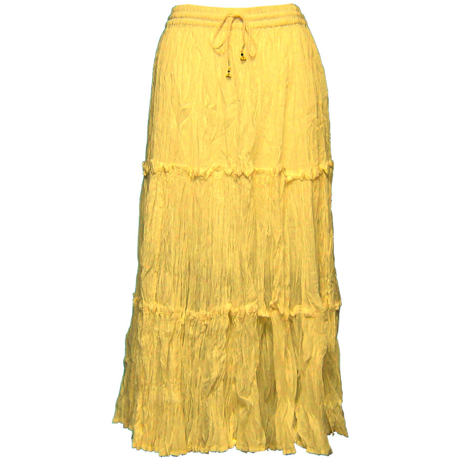 Wholesale Skirts - Cotton Three Tier Broomstick 500 & 529 Ankle Length - Yellow - One Size (S-XL)