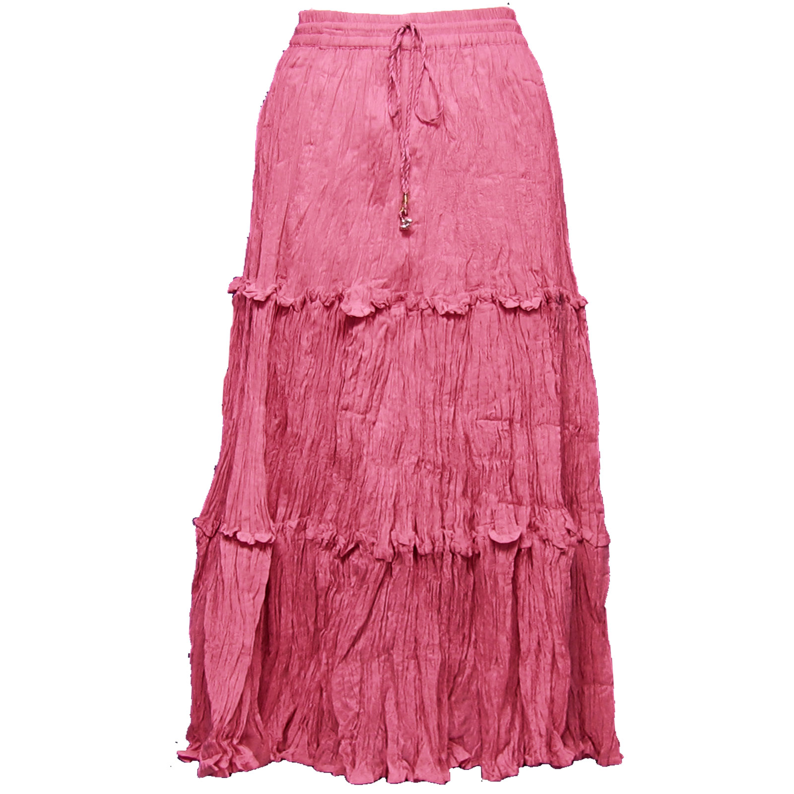 Wholesale Skirts - Cotton Three Tier Broomstick 500 & 529 Ankle Length - Pink - One Size (S-XL)