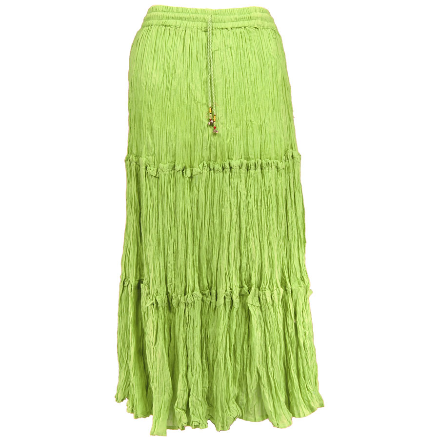 Wholesale Skirts - Cotton Three Tier Broomstick 500 & 529 Ankle Length - Lime - One Size (S-XL)