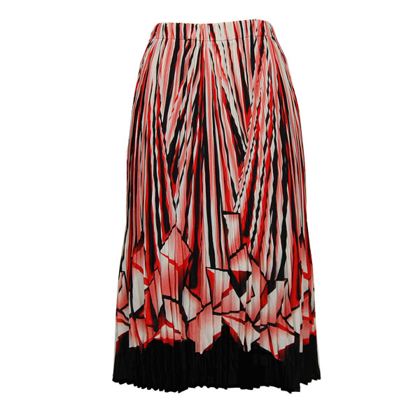 Wholesale Skirts - Georgette Mini Pleat Calf Length* Prisms Orange-Black - One Size (S-L)