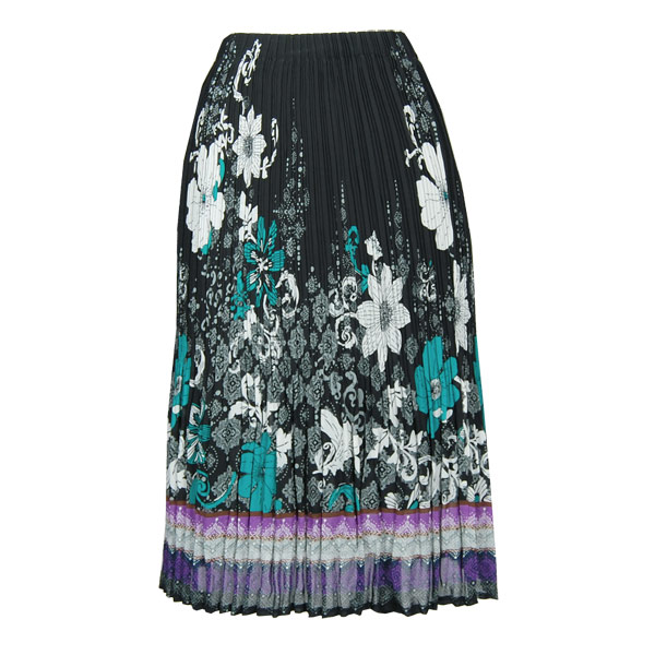 Wholesale Skirts - Georgette Mini Pleat Calf Length* Print Border Black-Teal-Purple - One Size (S-L)