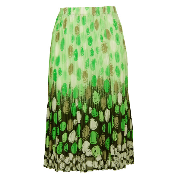 Wholesale Skirts - Georgette Mini Pleat Calf Length* Multi Dots Green-Black - One Size (S-L)