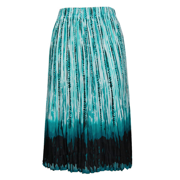 Wholesale Skirts - Georgette Mini Pleat Calf Length* Abstract Stripes White-Black-Teal - One Size (S-L)