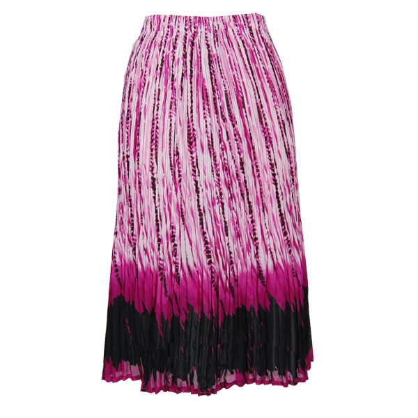 Wholesale Skirts - Georgette Mini Pleat Calf Length* Abstract Stripes White-Black-Raspberry - One Size (S-L)
