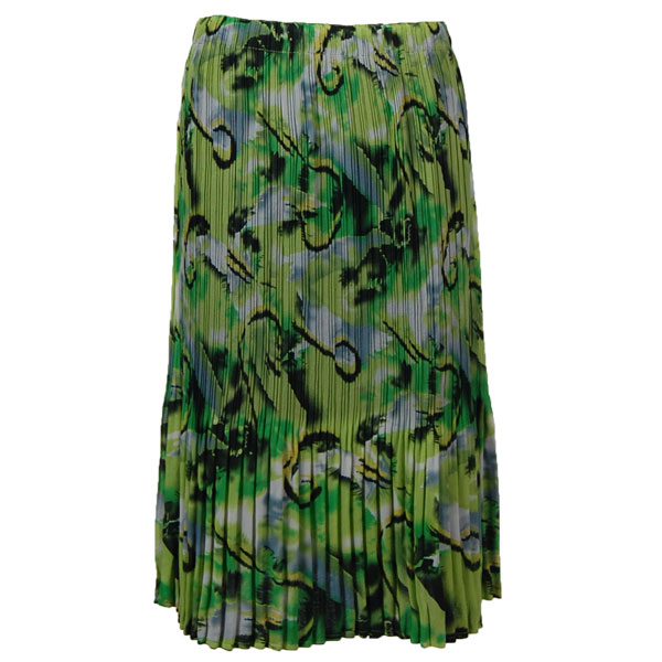 Wholesale Skirts - Georgette Mini Pleat Calf Length* Abstract Watercolors - Lime-Black - One Size (S-L)