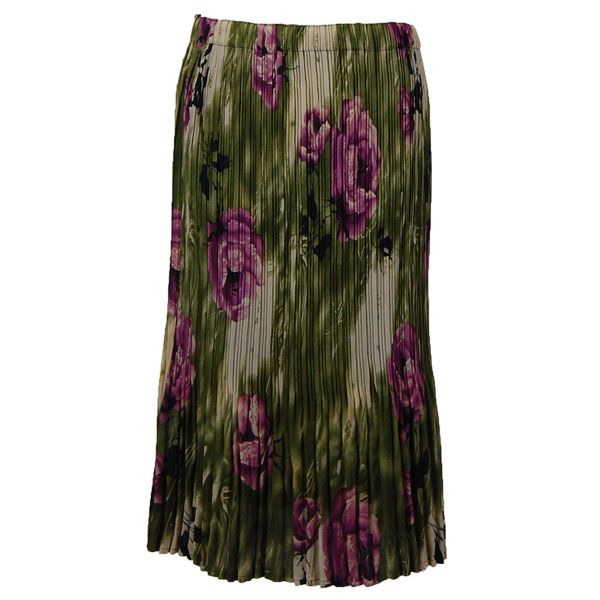 Wholesale Skirts - Georgette Mini Pleat Calf Length* Roses Olive-Purple - One Size (S-L)