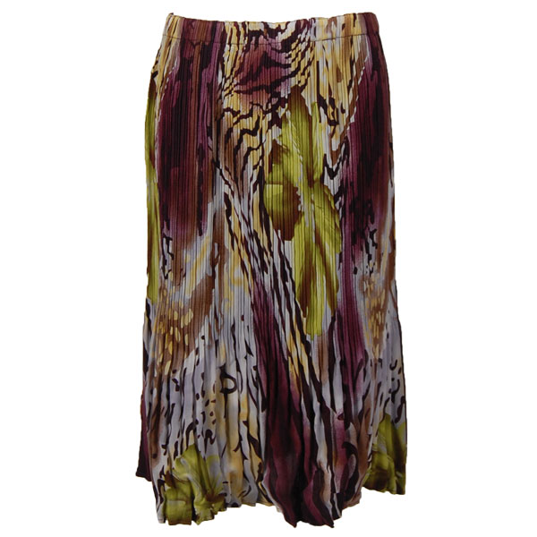Wholesale Skirts - Georgette Mini Pleat Calf Length* Abstract Floral - Eggplant-Gold - One Size (S-L)