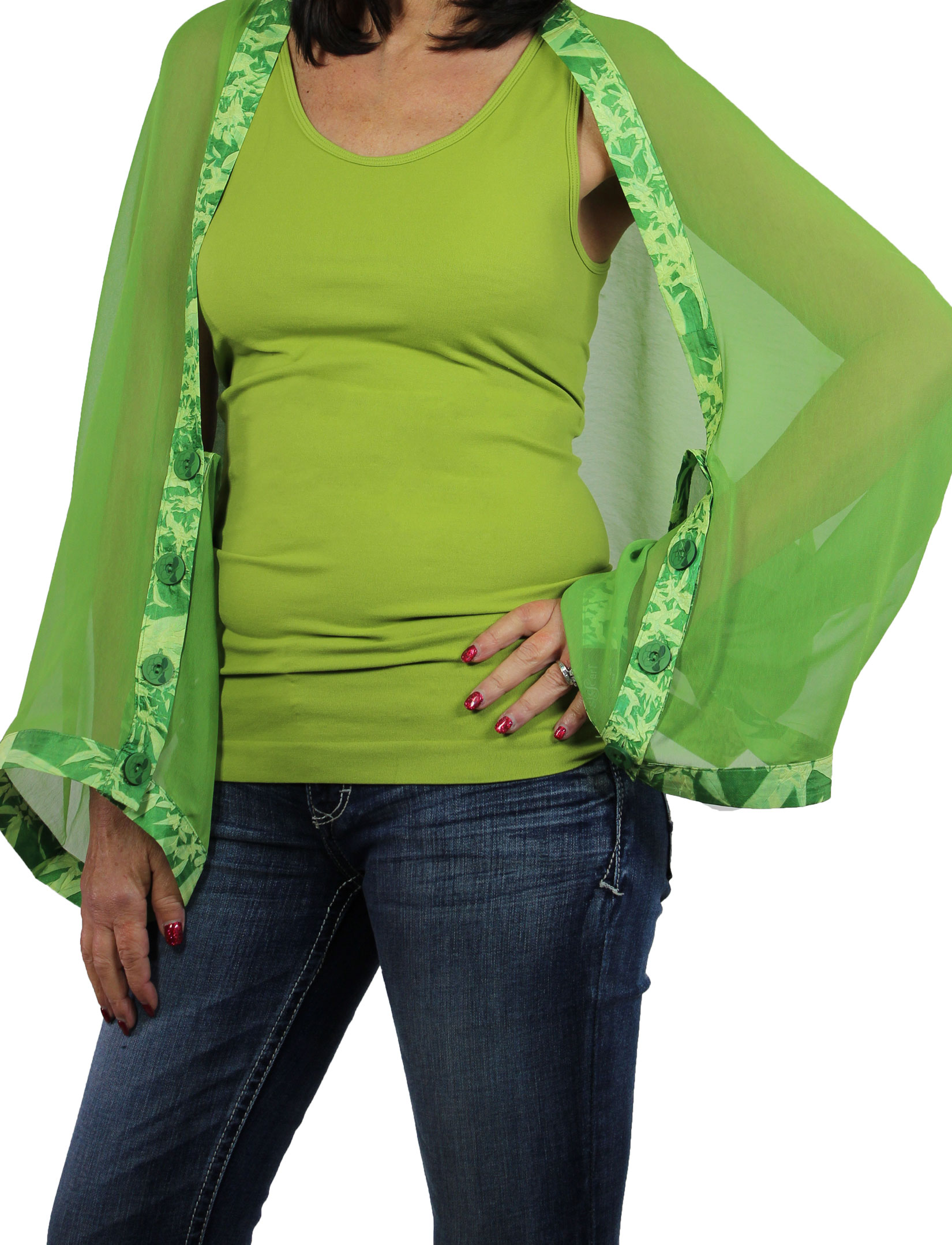 Wholesale Origami - Three Quarter Sleeve Green with Emerald-Lime Trim -