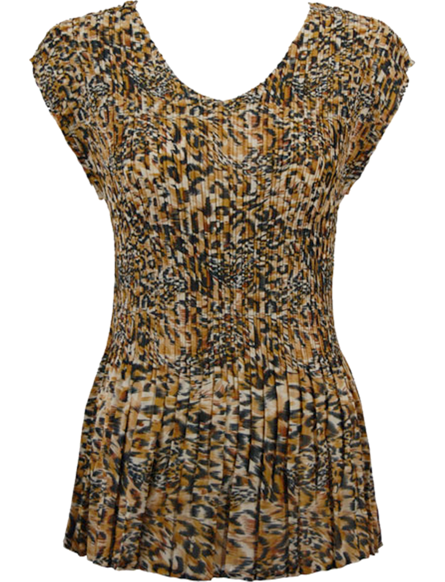 Georgette Mini Pleats - Cap Sleeve V-Neck